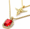 Image of Angel and Ruby Gem Stone Pendant With Two Gold Chains Set