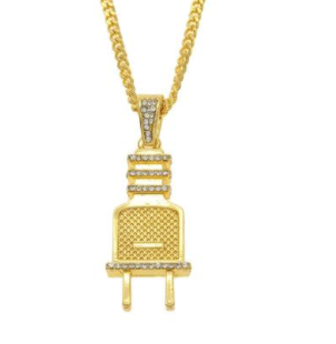 Iced out Gold Plug Pendant with Gold Chain and VVS+ Lab Diamonds