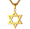 Image of Star of David Pendant in Gold, Silver, Rose Gold, and Black, with Matching chain