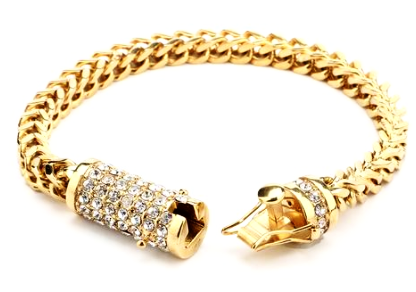 Cuban link Bracelet in Gold with Iced out Butterfly Clasps - LA Gold Cartel