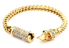 Image of Cuban link Bracelet in Gold with Iced out Butterfly Clasps - LA Gold Cartel