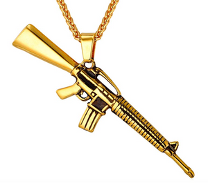 M16 18kt Gold Finish Pendant with Gold franco Chain - LA Gold Cartel