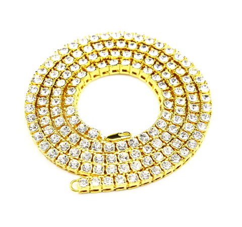 Single Row Tennis Chain in Silver & Gold