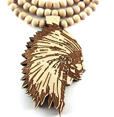 Wooden Chief Pendant and Chief Chain