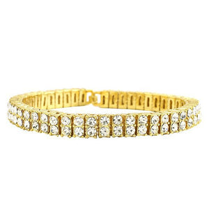 Double Row Iced Out Tennis Bracelet - LA Gold Cartel