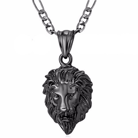 gun plated lion head pendant