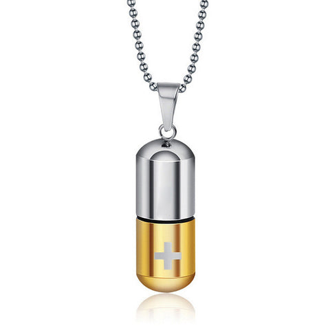 Pill Capsule Anime Pendant with Gold Chain and storage compartment Feature - LA Gold Cartel