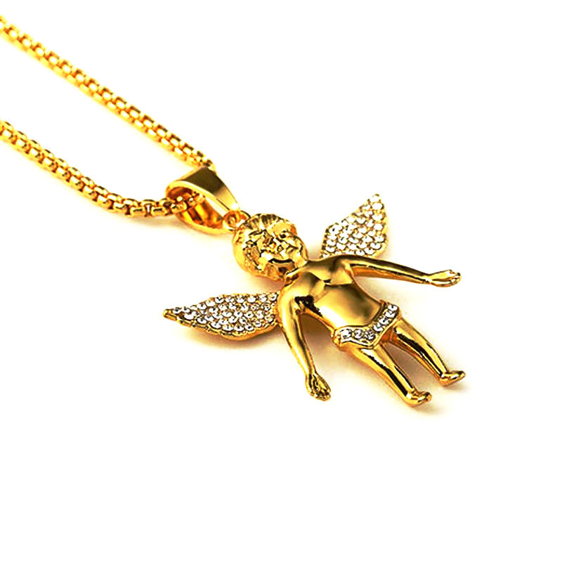 Iced out Angel Wings pendant with Chain - LA Gold Cartel