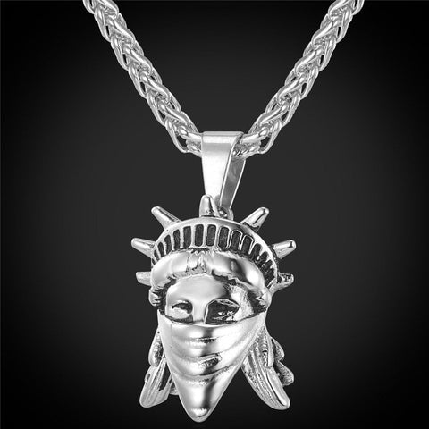 Statue of Liberty Rebel Pendant In gold and Silver with Matching Chain