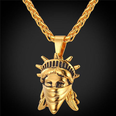 Statue of Liberty Rebel Pendant In gold and Silver with Matching Chain - LA Gold Cartel