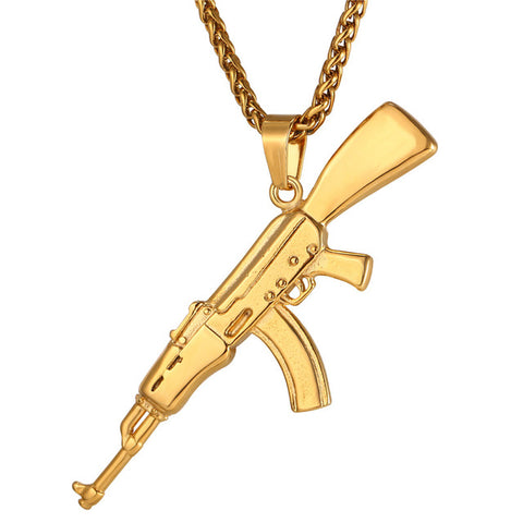 Ak-47 Pendant & Chain - LA Gold Cartel