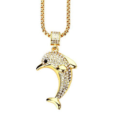 Iced out Dolphin Pendant & Chain
