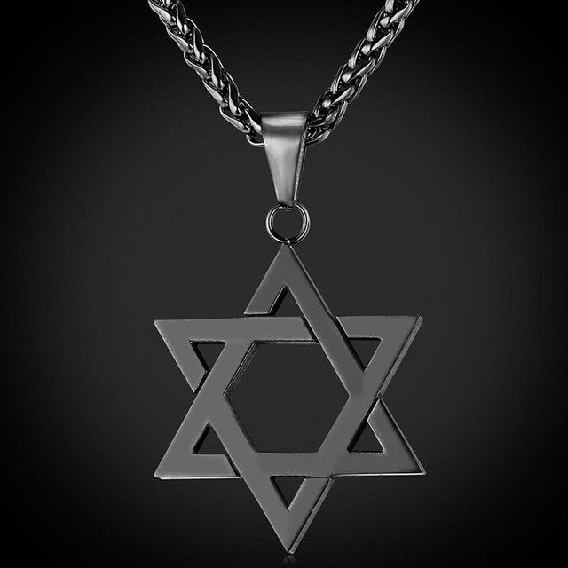 Star of David Pendant in Gold Silver Rose Gold and Black with