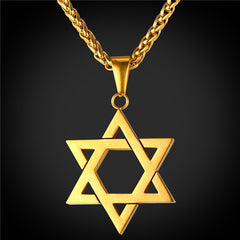 Star of David Pendant in Gold, Silver, Rose Gold, and Black, with Matching chain