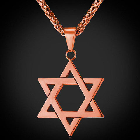 Star of David Pendant in Gold, Silver, Rose Gold, and Black, with Matching chain - LA Gold Cartel