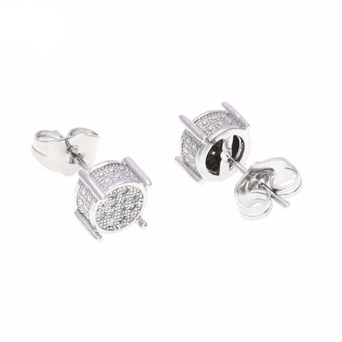 Silver Iced Out Stud Earrings