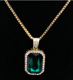 Gem Stone Pendant in Emerald, Aquamarine, & Ruby - LA Gold Cartel