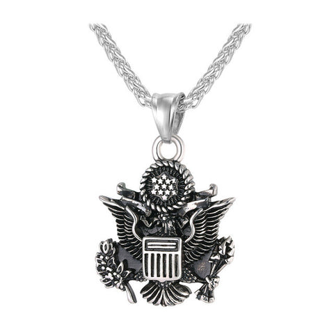 United States Of America Navy Seal Pendant in Gold and  Stainless Steal Silver with Rope Chain