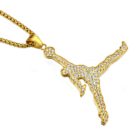 Iced Out Jordan Pendant With Chain - LA Gold Cartel