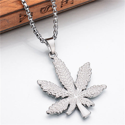 Weed Leaf Pendant with Gold Chain - LA Gold Cartel
