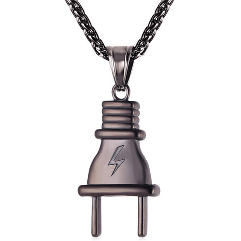 Simple Plug Pendant with Lightning bolt Engraved in Gold And silver with Matching Franco chain - LA Gold Cartel