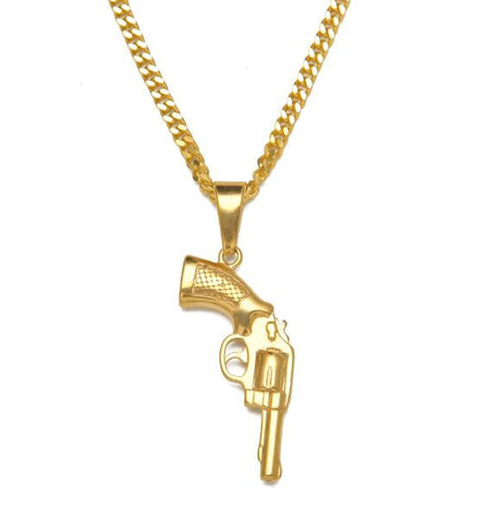 Revolver Pendant with Gold Rope Chain - LA Gold Cartel