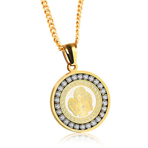 Iced out Angel Mosiac Pendant & Chain - LA Gold Cartel