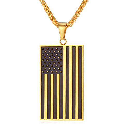 American Flag Pendant with Matching Chain - LA Gold Cartel