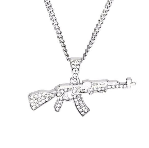 Iced out Ak-47 Pendant & Chain - LA Gold Cartel