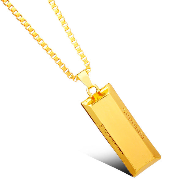 Brick Pendant With Hermes Link Chain - LA Gold Cartel
