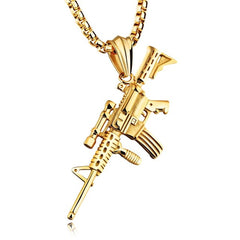 M14 w/ Scope, Pendant & Chain - LA Gold Cartel