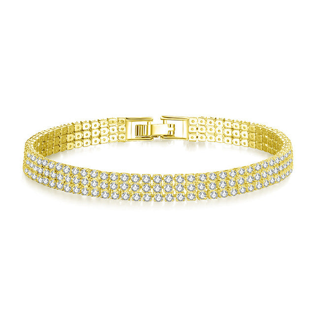 Triple Row Micro Tennis Bracelet - LA Gold Cartel