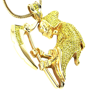 Canary yellow diamond reaper pendant with franco gold chain la canary yellow diamond reaper pendant with franco gold chain mozeypictures Images