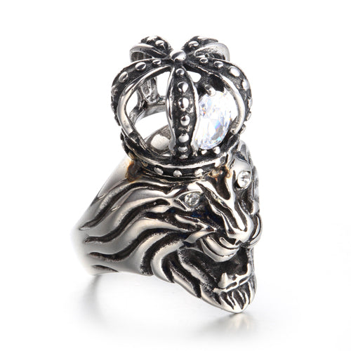steel lion ring side view