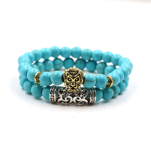 turquoise lion bracelet double layer
