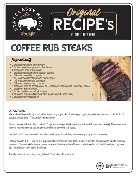 Stay Classy Meats Recipes | Coffee Rub Steaks | Chef Louis Sheppard Recipes | Ranch Chefs Recipes