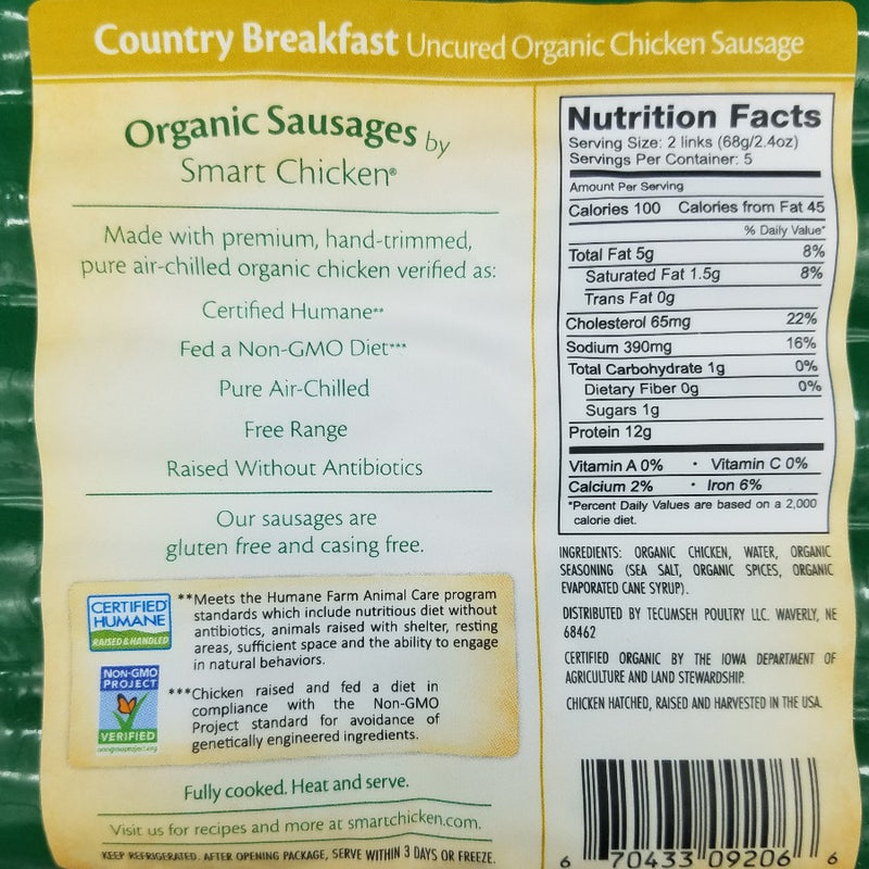 Smart Chicken - Organic Country Breakfast Sausage Links.