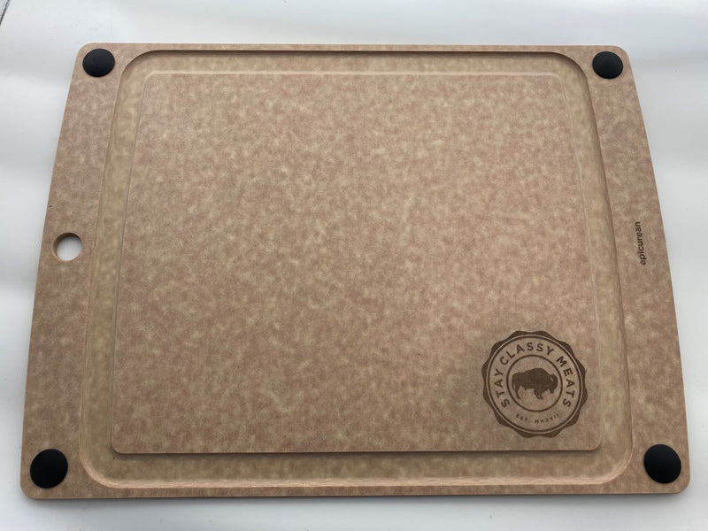 "Epicurian Cutting Board with Laser Etched Stay Classy Meats Logo - 13"" x 17""."