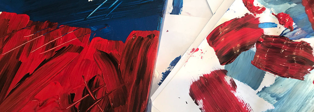 red and blue painting