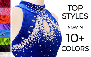 Joyce + Co. Competition Figure Skating Dresses. Designer Ice Skating Dresses with Rhinestones for Women and Girls. Custom Sizing and Colors available.