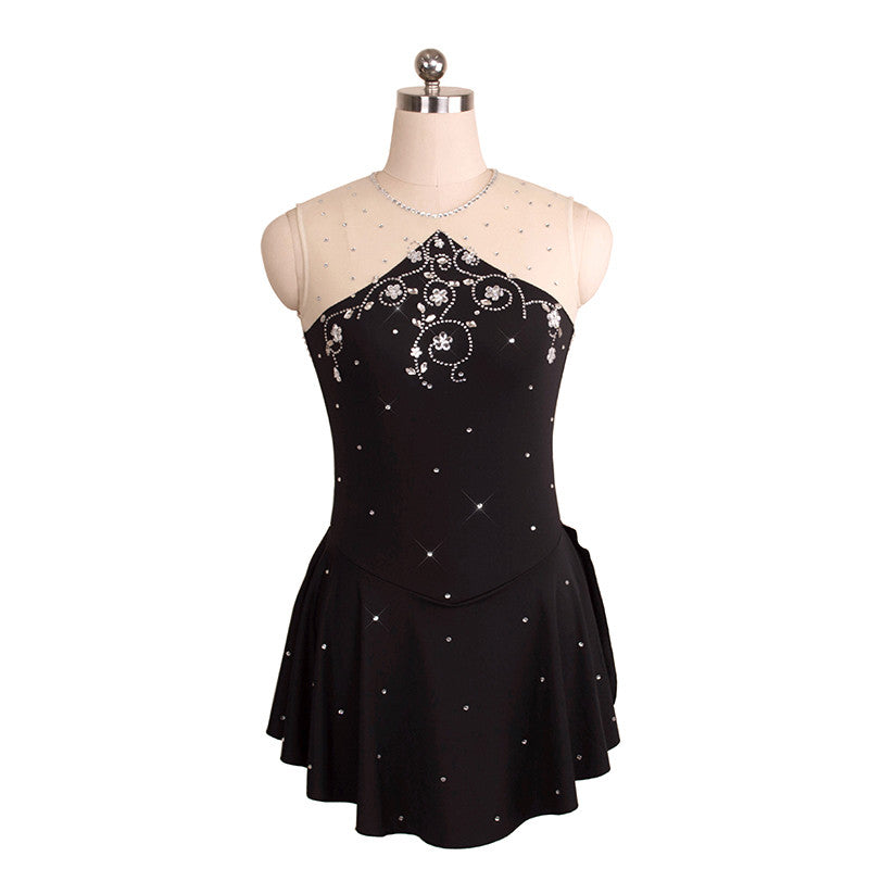 Triangle Cut Skating Dress with Floral Swirl Rhinestones - Joyce + Co.