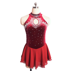 Jeweled Loop Velvet Skating Dress - Joyce + Co. Custom Figure Skating Dress Designer