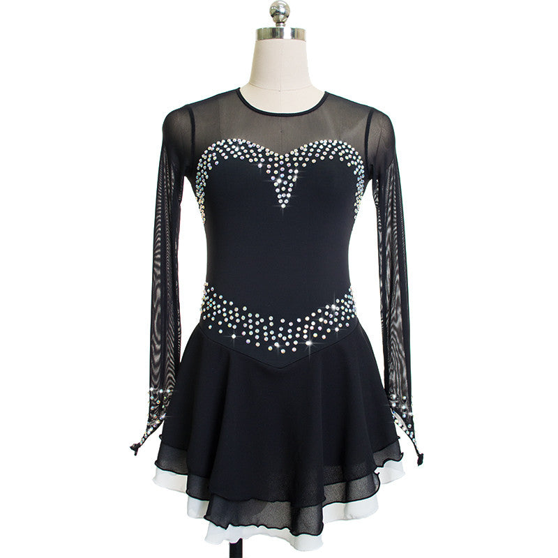 Long Sleeved Sweetheart Figure Skating Dress - Joyce + Co. Competition Figure Skating Dresses