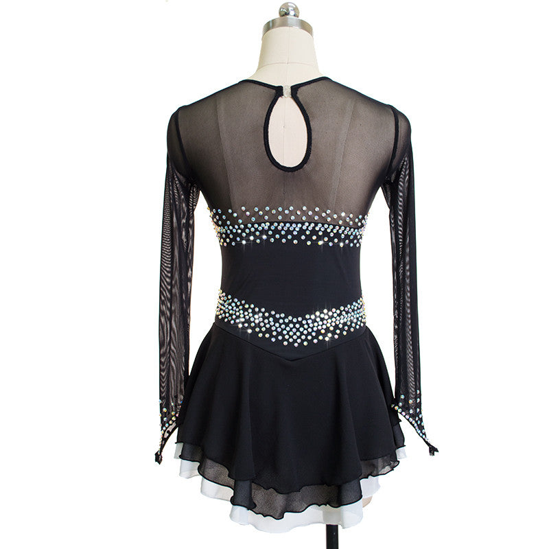 Long Sleeved Sweetheart Figure Skating Dress - Joyce + Co. Competition Ice Skating Dress