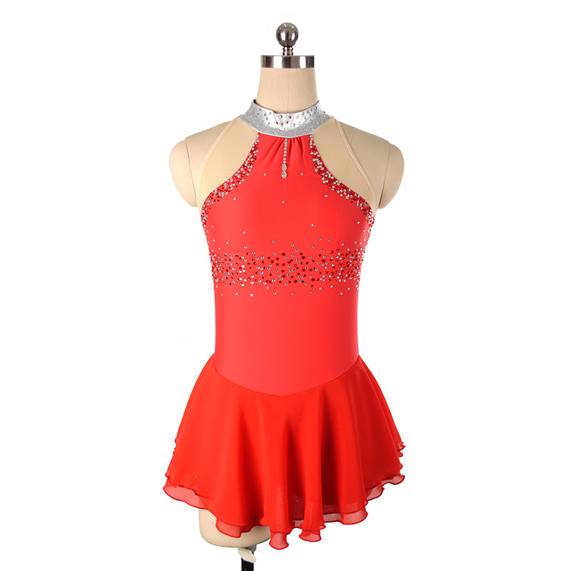 Joyce + Co. In-stock Figure Skating Dresses | Sleeveless Mock Neck Ice Skating Dress | Red | Child Size 14 | Designer Kids Figure Skating Dresses