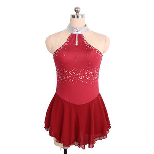 Joyce + Co. In-stock Competition Figure Skating Dresses | Sleeveless Mock Neck Ice Skating Dress | Wine Red | Adult Medium | Ladies Figure Skating Dresses