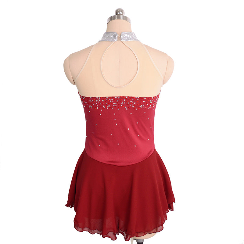 Joyce + Co. In-stock Figure Skating Dresses | Sleeveless Mock Neck Ice Skating Dress | Wine Red | Adult Medium | Designer Ladies Figure Skating Dresses