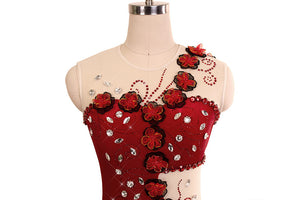 Spanish Rose Skating Dress with Floral Appliqué - Joyce + Co.