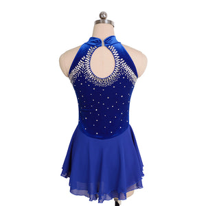 Jeweled Loop Velvet Skating Dress - Joyce + Co. Baton Twirling Dresses