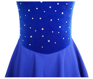 Jeweled Loop Velvet Skating Dress - Joyce + Co. Custom Skating Dress Designer